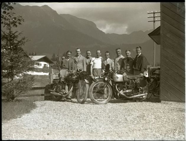 Photo - British riders with Matchless and Triumph 500 BMX 621 at ISDT 1935