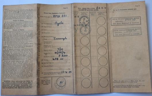 Image - log book for Triumph 500 BMX 621 - front