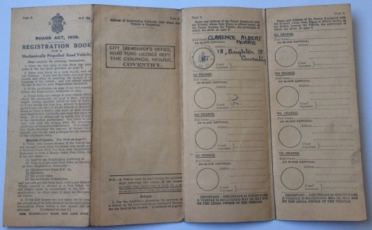 Image - log book for Triumph 500 BMX 621 - rear
