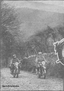 "Photo - Harry Perrey on the twin and 'Motor Cycling's"" man on the 5/5 enjoy themselves on the Alt-y-Bady (sic)"