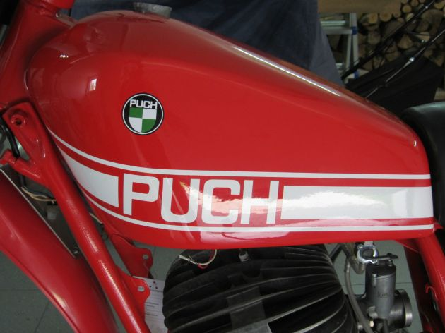 Photo - Johann Sommerauer's Works Puch MC 175 petrol tank detail ex ISDT 1973