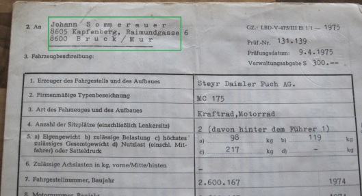 Photo - Johann Sommerauer's Works Puch MC 175 registration papers ex ISDT 1973