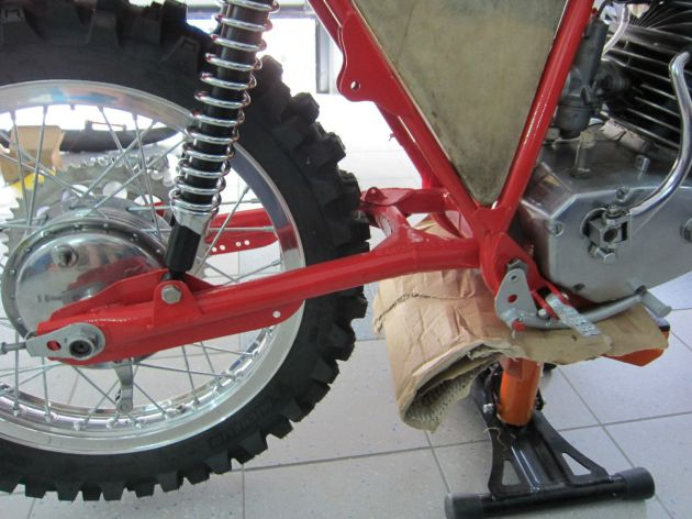 Photo - Johann Sommerauer's Works Puch MC 175 swing arm detail ex ISDT 1973