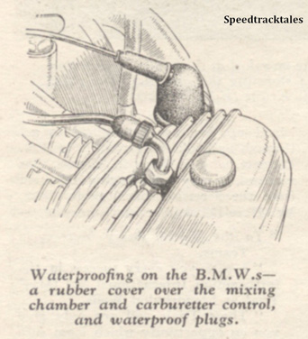 Image - Waterproofing on the BMWs a rubber cover over the mixing chamber and carburetter control and waterproof plugs - ISDT 1938 (image courtesy Morton Media)