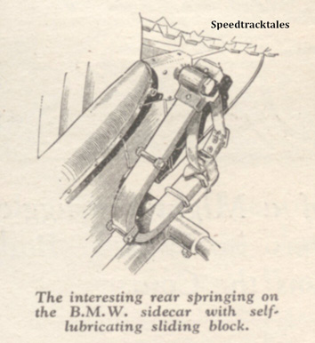 Image - The interesting rear springing on the BMW sidecar with self lubricating sliding block - ISDT 1938 (image courtesy Morton Media)
