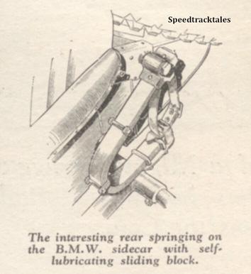Image - The interesting rear springing on the BMW sidecar with self lubricating sliding block - ISDT 1938 (image courtesy Morton Media)