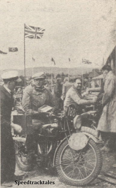 Photo - #188 CG Rolles (Matchless) taking in supplies, Note how the Union Jack is flying - let's hope it will be waving as strongly next saturday! - ISDT 1938 (image courtesy Morton Media)
