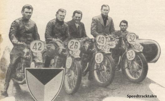Photo - The Czech Trophy Team - #42 A Vivtar #26 V Stanislav, #49 R Protiva, (247 Jawas)  #32 F Juhan (590 Jawa sc) ISDT 1938