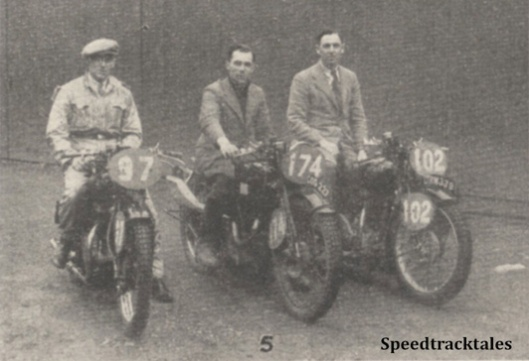 Photo - GB 'A' Vase Team #97 R McGregor (Rudge) #174 (WT Tiffen, jun (Velocette) #102 JA McLeslie (Rudge) - ISDT 1938 (image courtesy Morton Media)