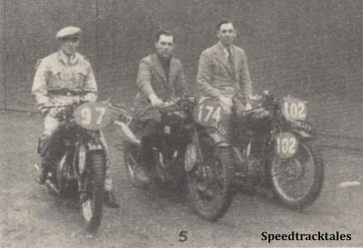 Photo - GB 'A' Vase Team #97 R McGregor (Rudge) #174 (WT Tiffen, jun (Velocette) #102 JA McLeslie (Rudge) - ISDT 1938 (image courtesy Morton Media)