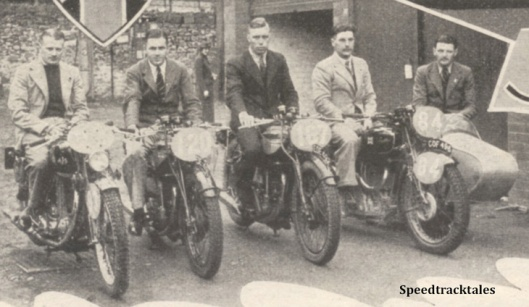 Photo - GB Trophy Team on 350's GE Rowley (AJS) #120 J Williams and #167 VN Brittain (Nortons) and #84 WS Waycott (598 Velocette sc) with V Munday - ISDT 1938 (image courtesy Morton Media)