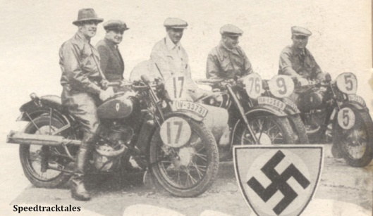 Photo - German Trophy Team #17 H Scherzer #76 W Fahler #9 R Demmelbauer (all 173 DKW)  #5 (597 BMW sc) - ISDT 1938 (image courtesy Morton Media)