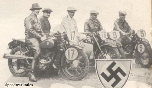 Photo - German Trophy Team #17 H Scherzer #76 W Fahler #9 R Demmelbauer (all 173 DKW)  #5 (597 BMW sc) - ISDT 1938 (image courtesy Morton Media)