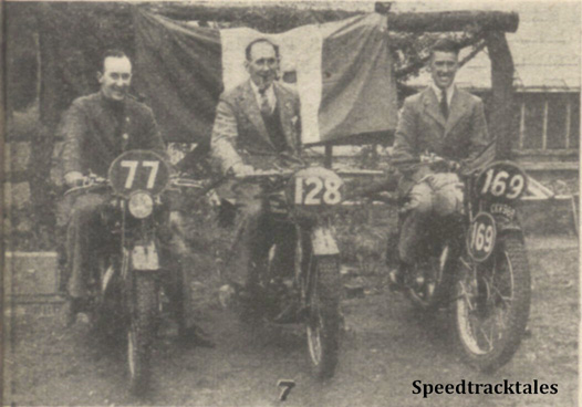 Photo - #77 S Moran (Matchless) #128 T Stewart (Royal Enfield) and #169 RC Yeates (Triumph) - ISDT 1938 (image courtesy Morton Media)