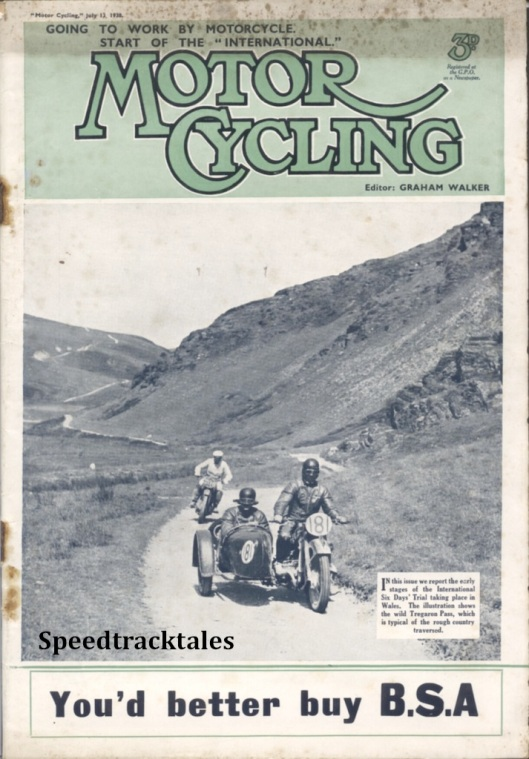 Image - cover of 'Motor Cycling' 13 July 1938 featuring A 'report on the early stages of the International Six Days' Trial taking place in Wales. The illustration shows the wild Tregaron Pass, which is typical of the rough country traversed' ISDT 1938