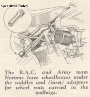 Image - The RAC and Army team Nortons have wheelbraces under the saddles and insert adapters for wheel nuts carried in the toolbags - ISDT 1938 (image courtesy Morton Media)
