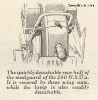 Image - The quickly detachable rear half of the mudguard of the 250 NSUs. It is secured by three wing nuts while the lamp is readily detachable - ISDT 1938 (image courtesy Morton Media)