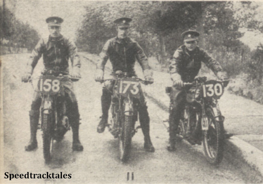 Photo - The R.A.S.C Huhnlein Trophy Team #158 Cpl JN Cowley #173 Driver R Campbell #130 Cpl GO Davies (all Norton) - ISDT 1938 (image courtesy Morton Media)