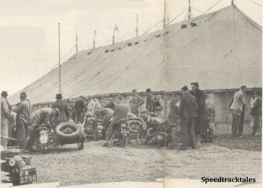 Photo - Riders and Officials with plenty of spectators, assembled in the enclosure all ready for the weighing-in on Sunday - ISDT 1938 (image courtesy Morton Media)