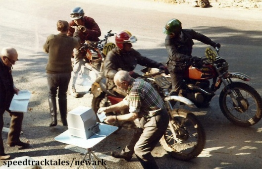 Photo - Timecheck at Glen Helen #196 Eddie Crooks GB Ossa [LEO812K] #208 RB Webster USA Ossa #209 N Casas Vila Spain Ossa ISDT 1971 (Newark Collection)