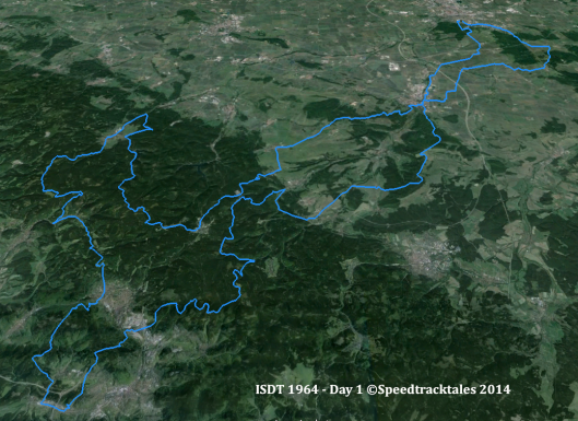 image - route of day 1 ISDT 1964 (Google Earth)