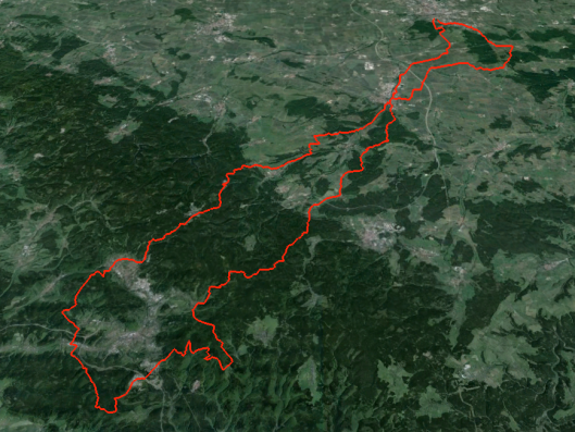 image - route of day 2 ISDT 1964 (Google Earth)