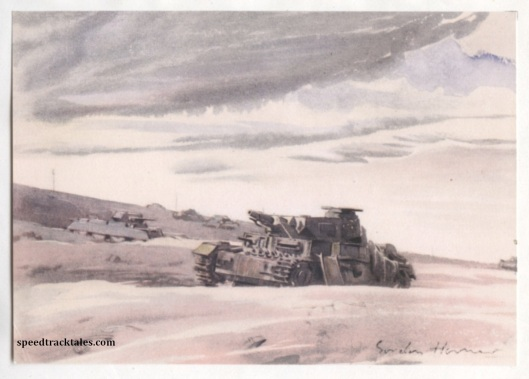 image - Tank Grave between Alen Hemsa and Mteifel el Chebir (Original Art by Gordon Horner 1915-2006)