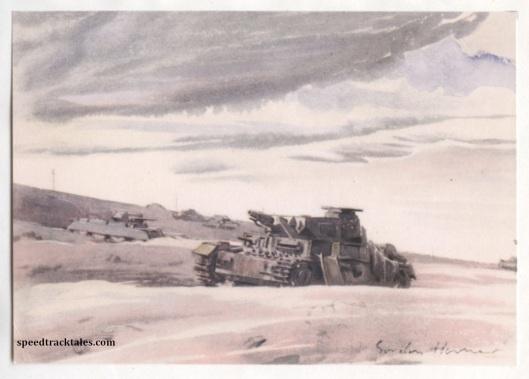 image - Tank Grave between Alen Hemsa and Mteifel el Chebir (Original Art by Gordon Horner 1915-2006)