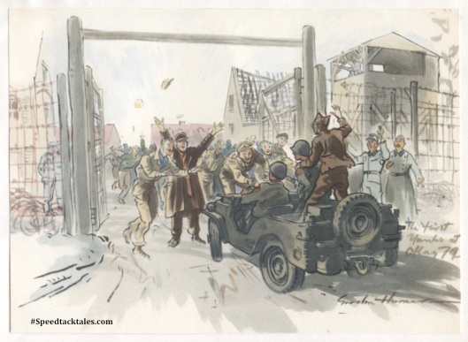 image - The relief of Brunswick - The liberation of the Allied Prisoners of War by American troops. (Original Art by Gordon Horner 1915-2006)