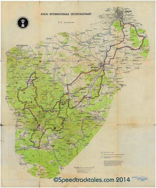 image - Course map Day 1 & 3 ISDT 1964 ((Courtesy Harro Esmarch Collection))