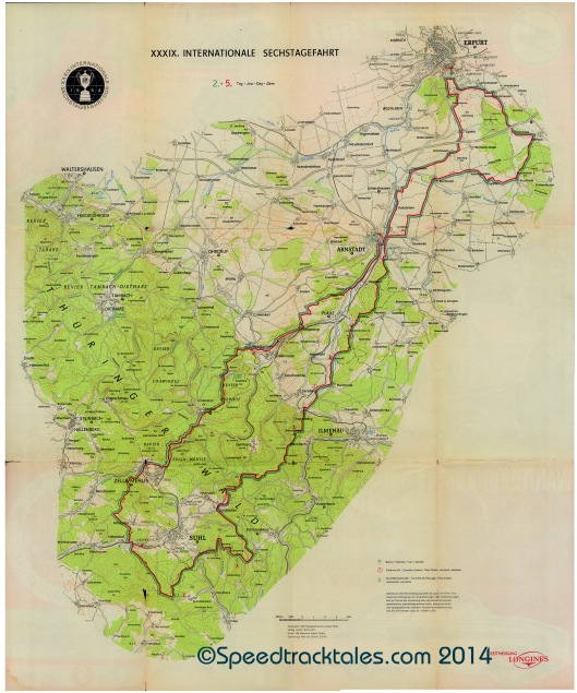 image - Course map Day 2 & 5 ISDT 1964 (Courtesy Harro Esmarch Collection)