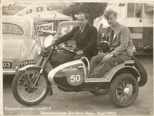 Photo - #50 WT Howard on the works entered BSA 350cc Sidecar outfit in Llandrindod Wells ISDT 1954 - (speedtracktales collection)