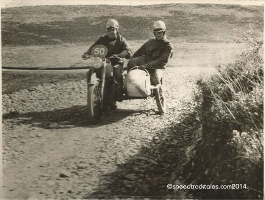 Photo - #50 WT Howard on the works entered BSA 350cc Sidecar outfit in open country  ISDT 1954 - (speedtracktales collection)