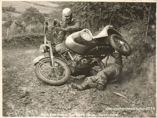 Photo - #50 WT Howard on the works entered BSA 350cc Sidecar outfit and a bit of fettling ISDT 1954 - (speedtracktales collection)