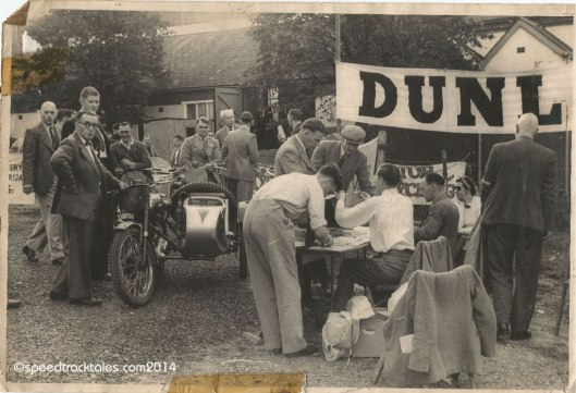 Photo - #50 WT Howard on the works entered BSA 350cc Sidecar outfit at time check ISDT 1954 - (speedtracktales collection)