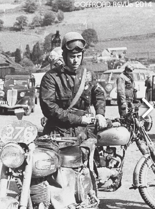 Photo -  British Teamster #276 Johnny Brittain with his Royal Enfield Bullet in ISDT trim at the refuelling in Llandrindod Wells. ISDT 1954