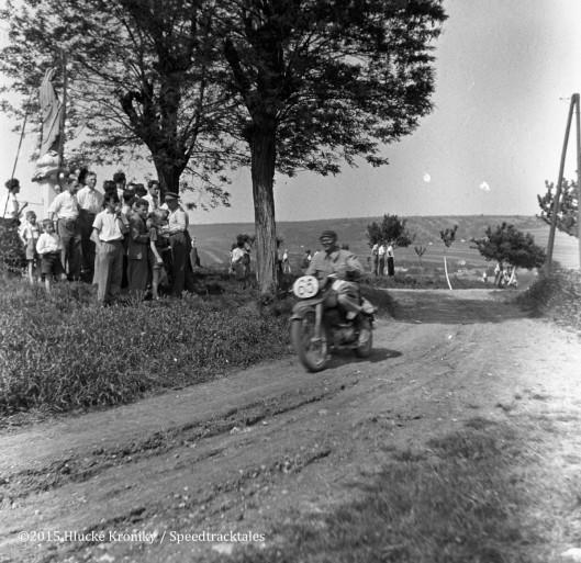 Photo - Czech rider #65 Jaroslav Javurek CZ 150, near Hluk, who finished with a Gold Medal  ISDT 1953 (©Hluké Kroniky)