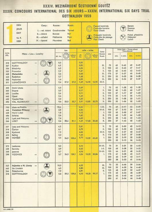 image - Day 1 Route Sheet ISDT 1959