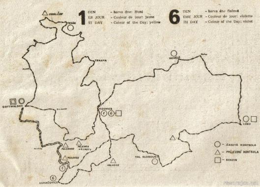image - programme map of routes days 1 & 6 ISDT 1959