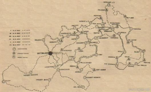 image - map of the 6 days course ISDT 1955