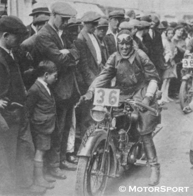 Photo - #36 Miss Cottle with her Raleigh [AU8497] and smile - ISDT 1925 ( Motorsport)