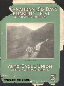Front Cover if the official ACU Programme ISDT 1927