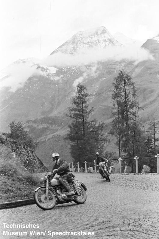 photo - #261 Cape DG Miles BSA 499 #262 David J Redmore Triumph 498 Großglockner pass ISDT 1952 (© Artur Fenzlau/Technisches Museum Wien)