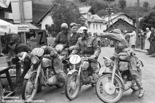 photo - #217 L. Cpl. JSM Bray works 498 BSA [99BD74] with #71 KL Westphal Maico 173 of Germany #72 Sergio Maspes MV 150 of Italy #218 William E Lamming BSA 498 of Holland at checkpoint ISDT 1952 (© Artur Fenzlau/Technisches Museum Wien)