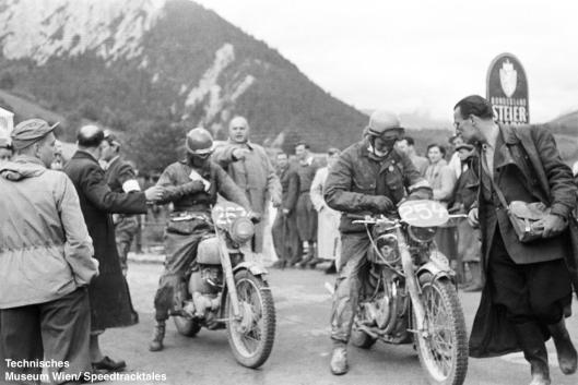 photo - #262 David J Redmore Triumph 498 [FUH 705] #254 FJ Vos Matchless 500 checkpoint ISDT 1952 (© Artur Fenzlau/Technisches Museum Wien)