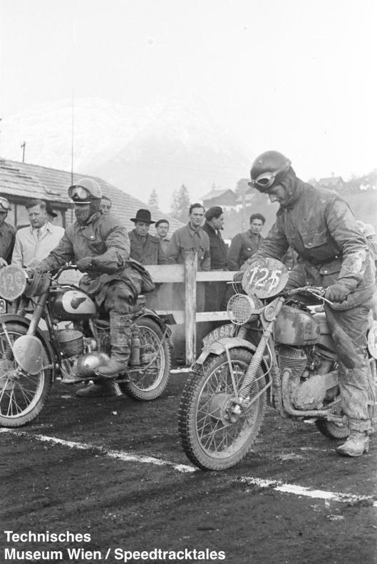 photo - #125 JW Morris DMW [KAB 882] with Swedish rider #126 Gösta Nyberg NV 244 at start ISDT 1952 (© Artur Fenzlau/Technisches Museum Wien)