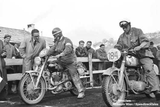 photo - #183 CM Ray Ariel 493cc [MOL 3] with German rider #184 Harald Oelerich Horex 342cc at start line ISDT 1952 (© Artur Fenzlau/Technisches Museum Wien)