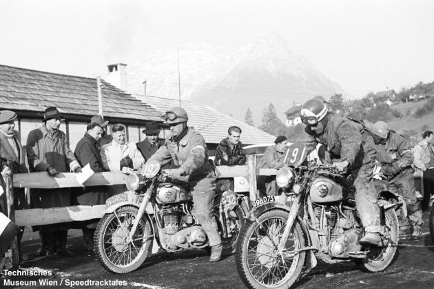 photo - #191 Capt DC Osmond works BSA 498cc [99BD75] with Dutch rider #192 JM Timmers BSA 348cc at start line ISDT 1952 (© Artur Fenzlau/Technisches Museum Wien)