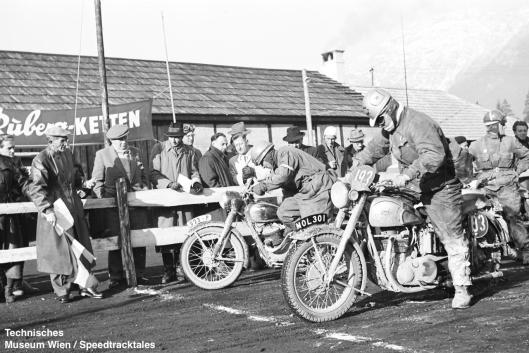 photo - #193 Fred Rist BSA 497cc [MOL 301] at start line ISDT 1952 (© Artur Fenzlau/Technisches Museum Wien)