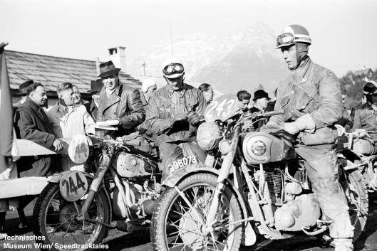 photo - #243 Sgt RA Rhodes works BSA Gold Star 500 [99BD73] along side #244 Zel'er Walter of Germany with his Works BMW 390cc ISDT 1952 (© Artur Fenzlau/Technisches Museum Wien)